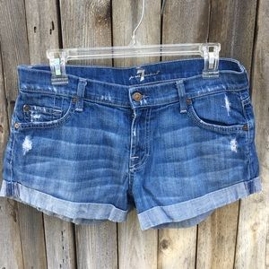 7 For All Mankind Distressed Roll Up Jean Short 28